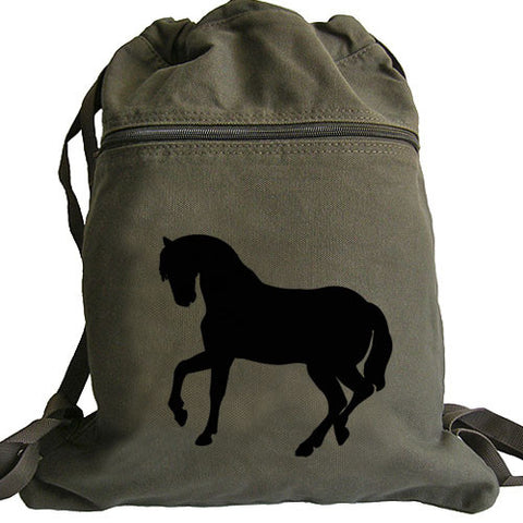 horse silhouette backpack green