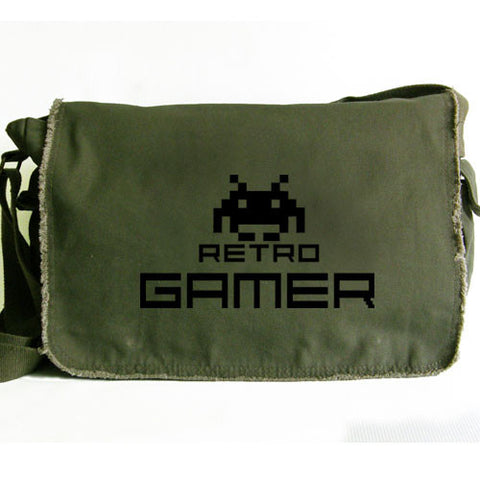 Retro Gamer Large Messenger Bag green