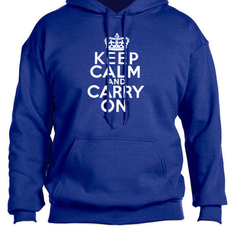 keep calm carry on sweatshirt royal blue