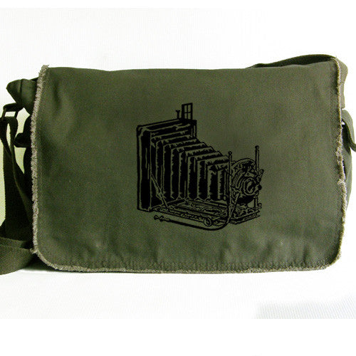 vintage camera large messenger bag green
