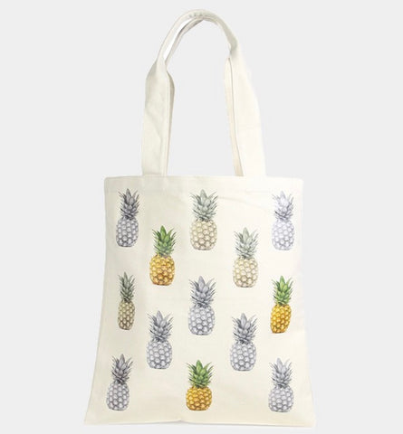 THE ADDISON- Canvas pineapple print tote bag