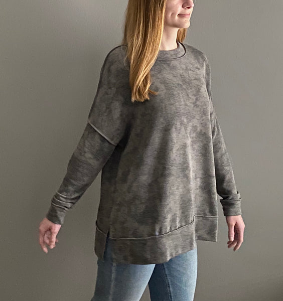 THE HOLDEN-Grey mix long sleeve tie dye top