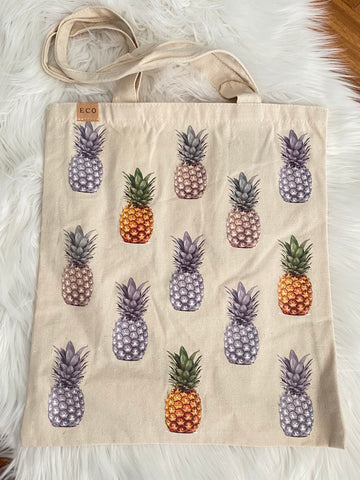 THE ADDISON • Canvas pineapple print tote bag