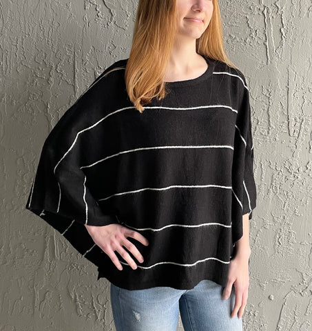 THE QUINN• Black + white striped pullover sweater