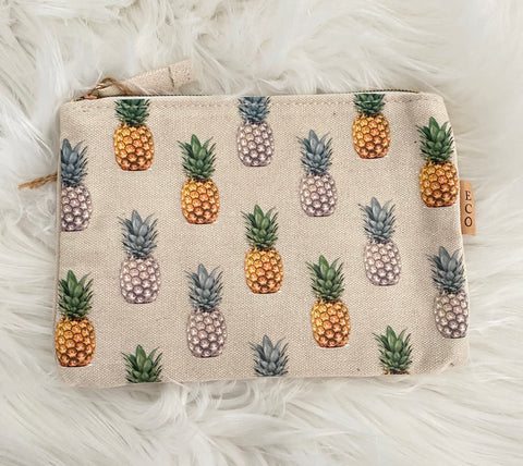 THE ATLAS • Canvas pineapple print pouch