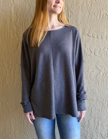 THE LAYLA• Charcoal ribbed dolman sleeve top