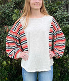 THE MARCO• Multicolor long puff sleeve top