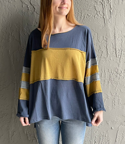 THE GREYSON• Indigo colorblock  top