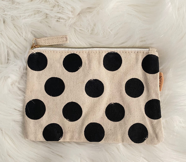 THE PENELOPE• Canvas polka dot pouch