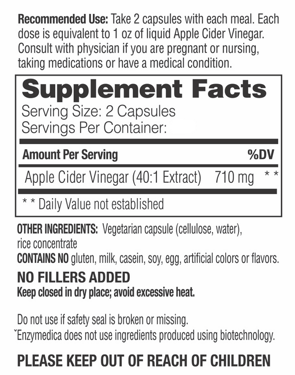 Apple Cider Vinegar 120 caps, Enzymedica