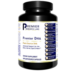 DHA 250 mg 60 Premier Dietary Supplement Plant-Source DHA Premier Support for the Brain, Nerves, Eyes and Heart