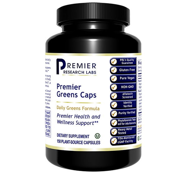 Greens Mix Caps PRL 150 veg caps Super Nutrition Greens Formula with Power Grass-Plus Blend Premier Health and Wellness Support
