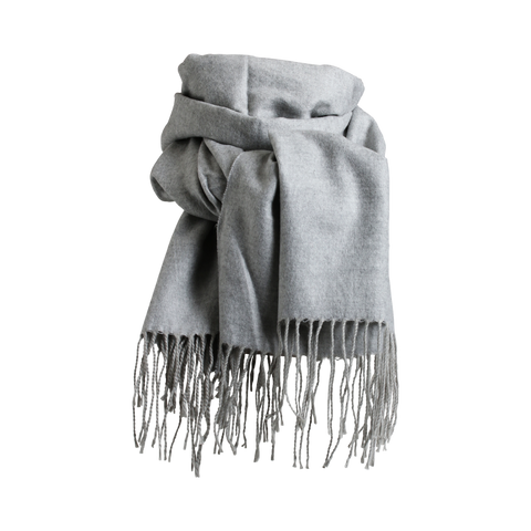 Stylesnob AW17 - Lipa a soft wollen scarf with fringes in light grey