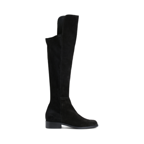 Stylesnob LORRIN boots - Black over-knee boot made in cow suede/elastic mix