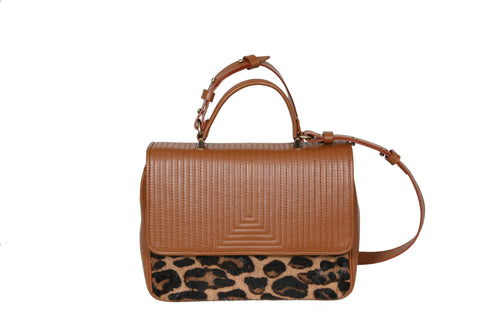 The Madrid V Bag - Havana & Leopard