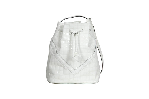 s.s ' 19 - Crocodile White Patent Bucket Bag
