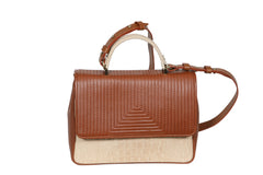 The Madrid V Bag - Havana & Off White Croco
