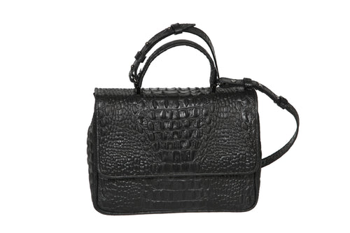 The Madrid V Bag - Black Croco