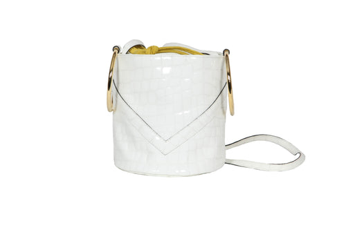 s.s ' 19 - Crocodile White Patent Mini Bucket