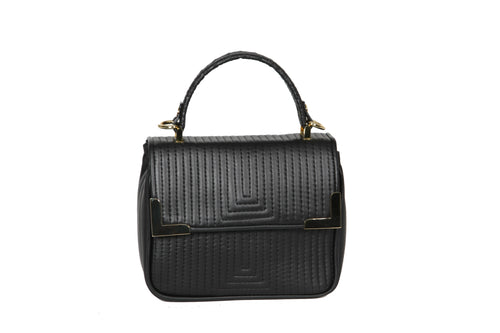 The Madrid Mini V Bag - Black & Gold