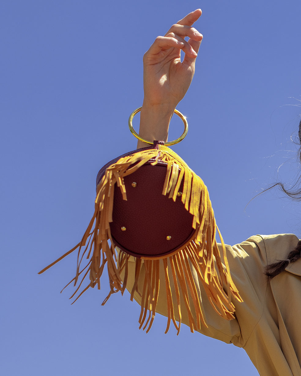 Mini Boho Bucket - Burgundy & Mustard