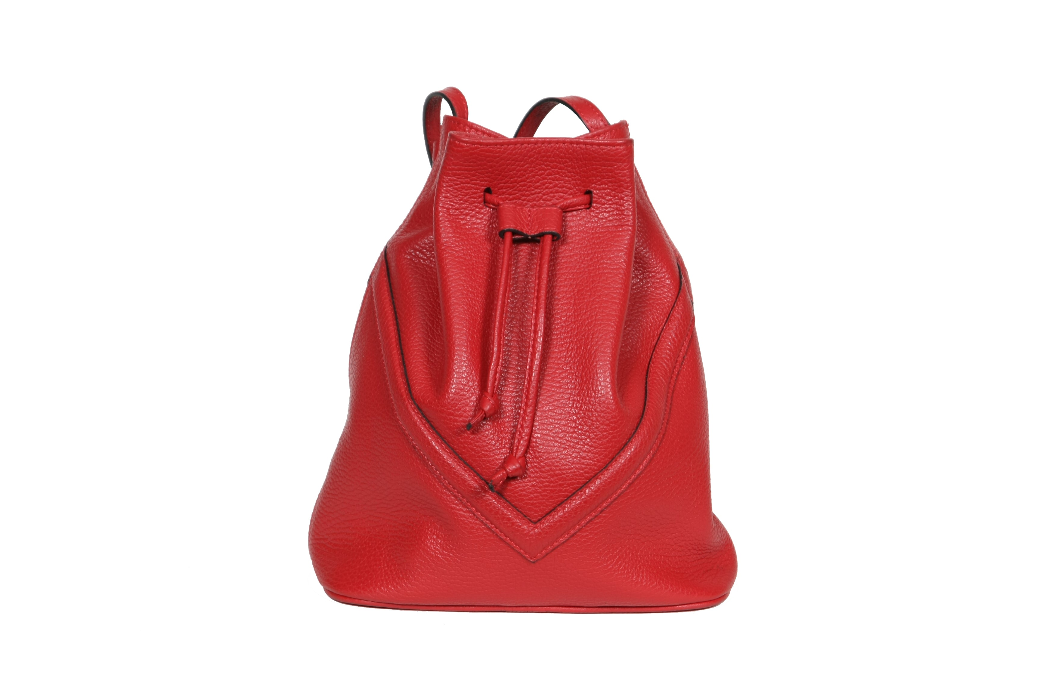 Bucket Bag Red Leather