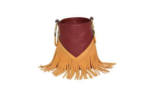Mini Boho Bucket - Wine Suede