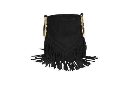 Mini Boho Bucket - Black Suede