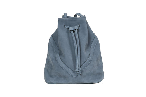 Bucket Bag Blue Suede