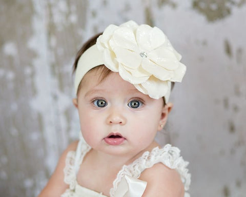 Angel Soft White Rose Headband