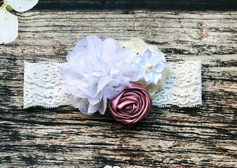 Delicate Rose White Lace Headband