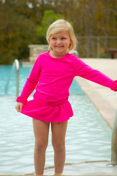 Hot Pink 2-piece rash guard swimsuit
