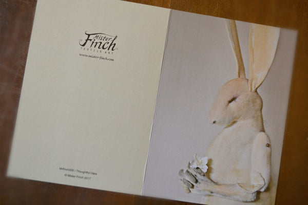 Thoughtful Hare Card By Mister Finch