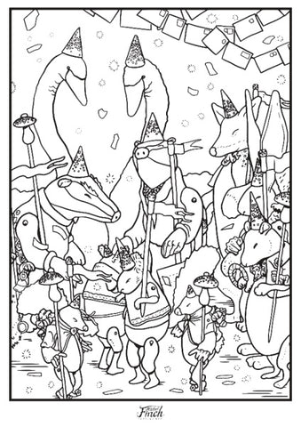 Wish Post Party colouring in sheet.