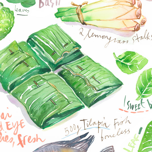 Thai fish grilled in banana leaf recipe