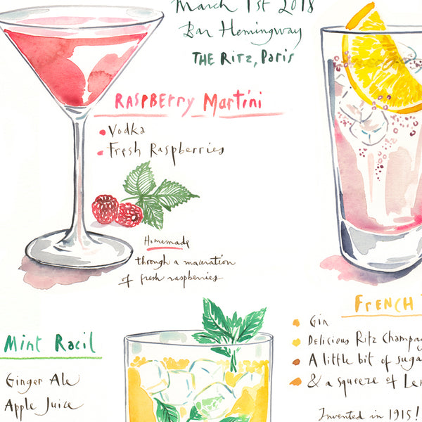 Watercolor menu illustration and calligraphy