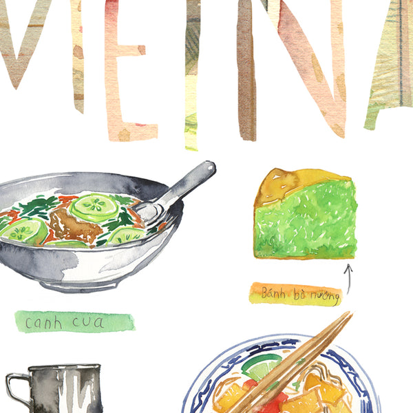 Vietnam food print. Vietnamese watercolor dishes.