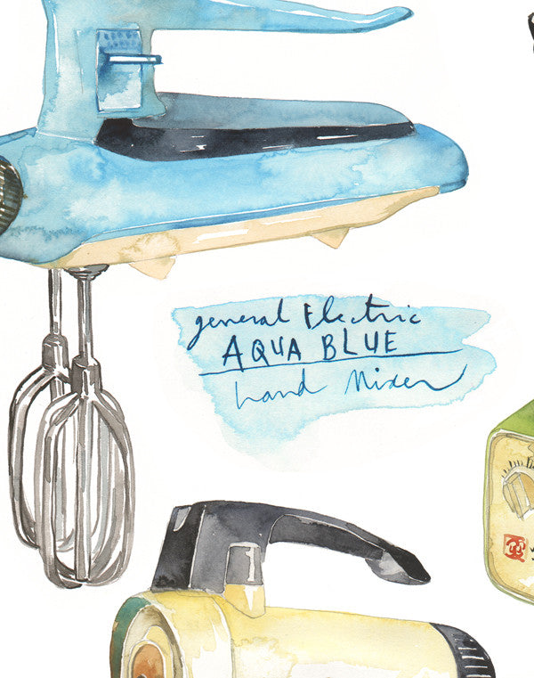 vintage kitchen mixer and blender watercolor illustration