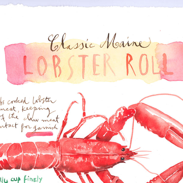 Classic Maine Lobster Roll recipe. Original watercolor painting