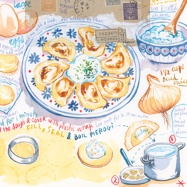 Polish Pierogi recipe. Original watercolor painting