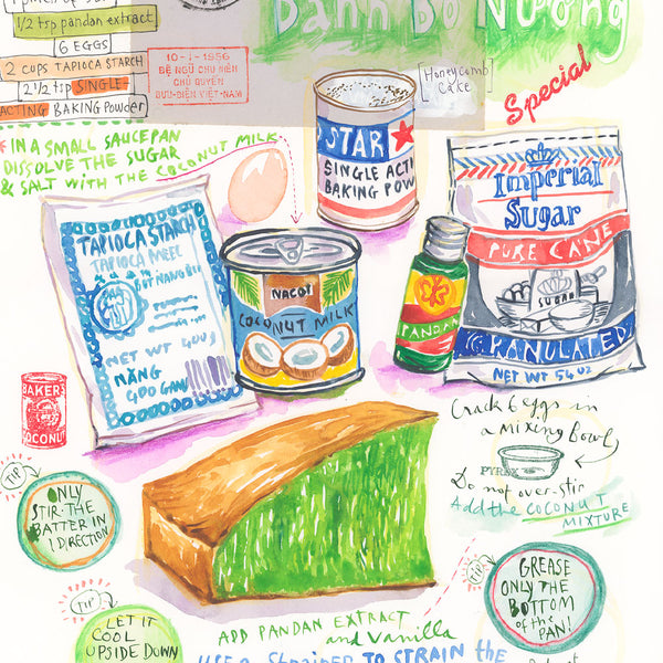 Banh Bo Nuong recipe. Original watercolor painting