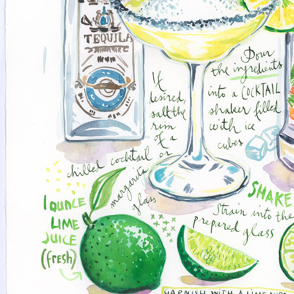 Margarita recipe. Original watercolor painting