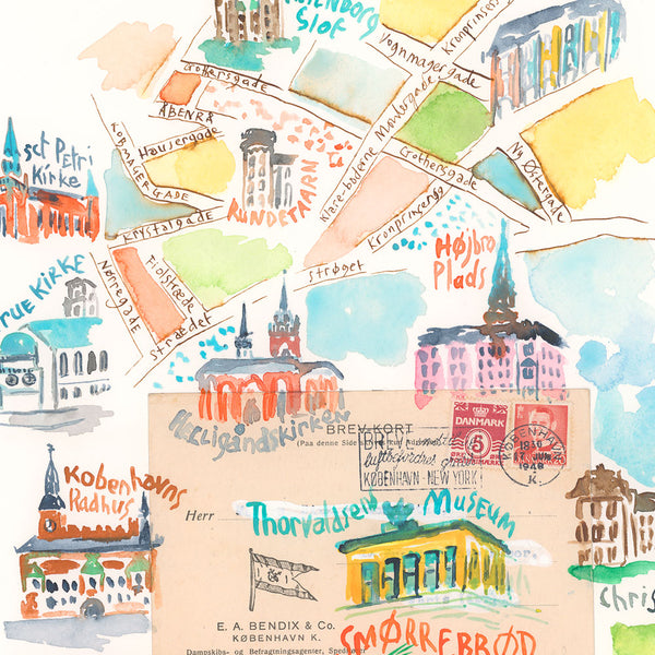 Copenhagen illustrated map with Smorrebrod. Original watercolor painting