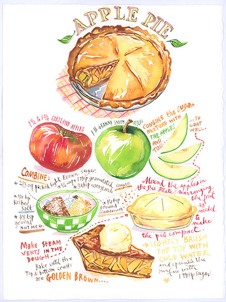 Apple Pie recipe. Original watercolor painting