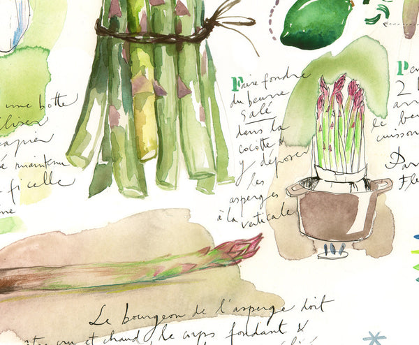 """Stand up asparagus"" recipe watercolor print inspired by chef Alain Passard"