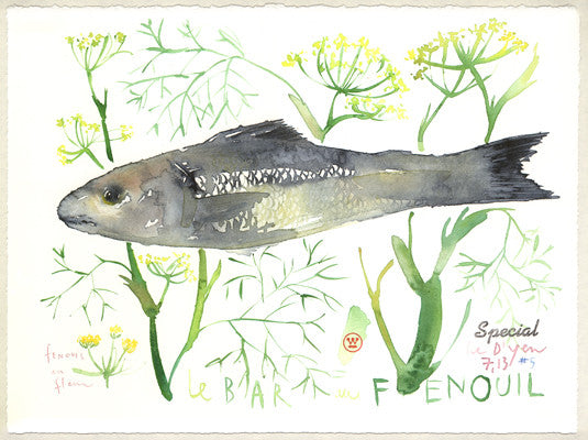 Bass with dill. Original watercolor painting