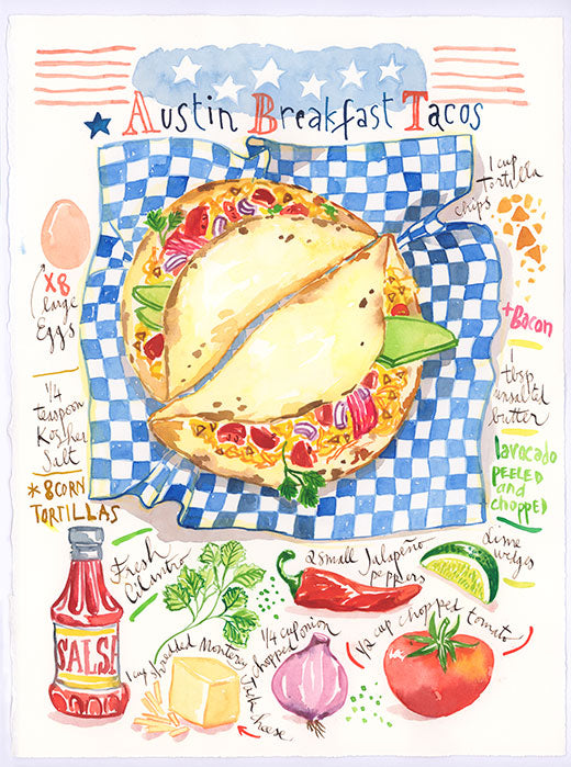 Austin Breakfast Taco recipe. Original watercolor painting