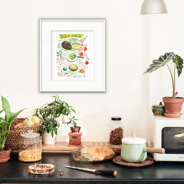 Féroce d'avocat - French West Indies recipe print - Watercolor - Bilingual print