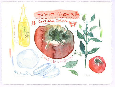 Caprese salad recipe. Original watercolor painting
