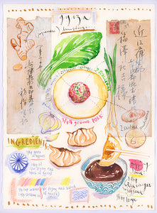 Japanese dumpling recipe (Gyoza) Original watercolor painting